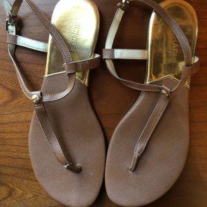 Michael Kors cognac sandals w/ gold accents